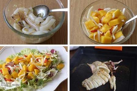 Ensalada de mango y calamar a la plancha