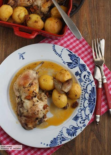 Pollo asado con chorizo y patatitas