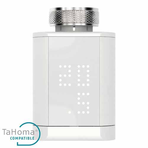 Válvula termostática Somfy para radiadores hidrálicos con botones físicos, pantalla LED y conrol por app móvil. Es compatible con el sistema TaHoma, los asistentes de voz de Amazon y Google y la plataforma IFTTT para gestionar la temperatura de tu hogar por zonas de la forma más eficiente.