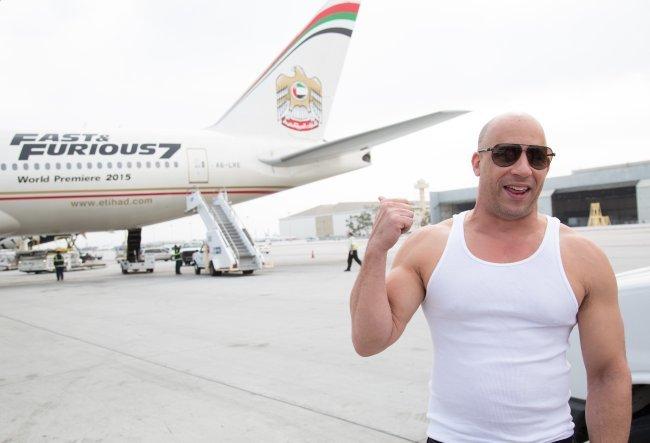 Vin Diesel haciendo promoción de Fast And Furious 7