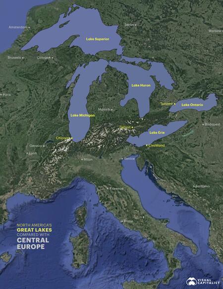 Lagos comparación con Europa Central.
