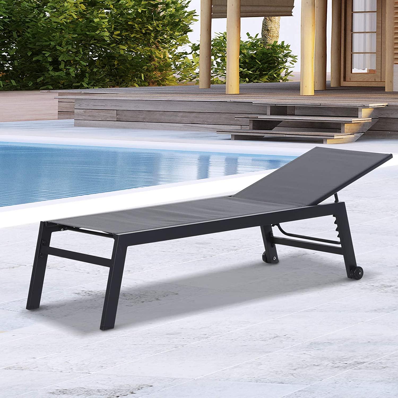 Outsunny Tumbona Multiposiciones de Jardín con Respaldo Reclinable en 5 Posiciones de Aluminio y textilene Carga 160 kg para Patio Terraza 169x65x102 cm Gris