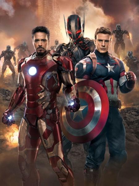 Iron Man, Capitán América y Ultrón en una imagen promocional de Vengadores 2