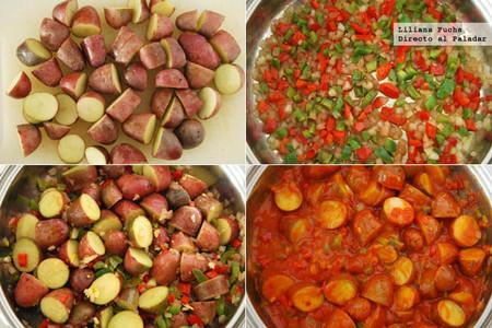 Receta de patatas en salsa picantona. Pasos