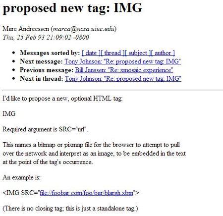 Documento histórico: la primera vez que se habló de la etiqueta IMG de HTML