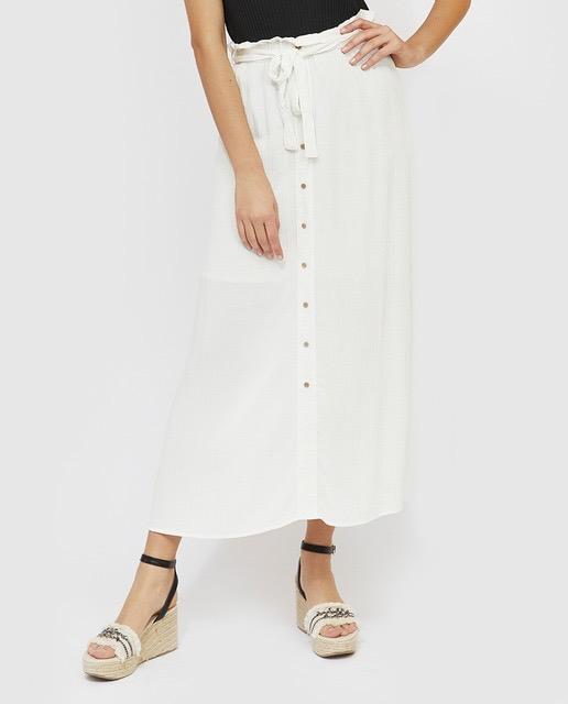 Maxi falda blanca de botones