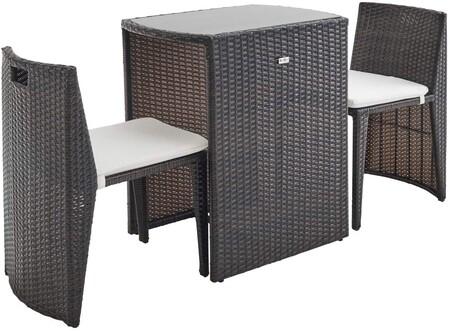 Mesa con sillas que se recogen