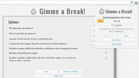 Gimme a break!: con integración con las tareas de Google