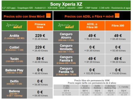 Precios Sony Xperia Xz A Plazos Con Orange