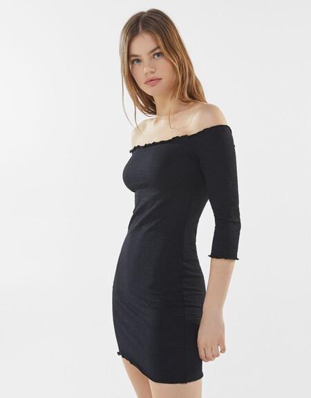 Vestido Mesonero Negro Bershka