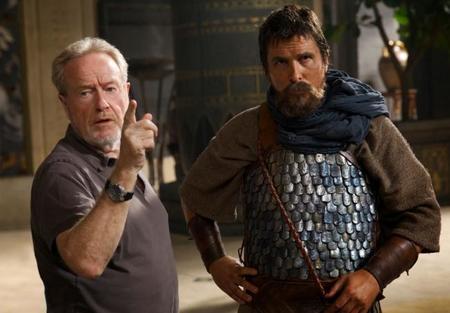 Ridley Scott y Christian Bale en el rodaje de Exodus
