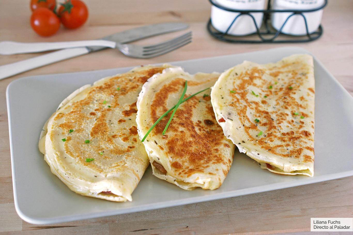 Crêpes de jamón y queso provolone: receta para un capricho de cena fácil