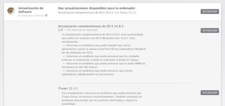 Apple lanza actualización complementaria de OS X 10.8.5, iTunes 11.1.1 y Firmware SMC del MacBook Air