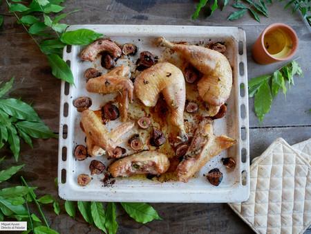 Pollo al horno con higos y romero: receta fácil para hacer en una sola bandeja