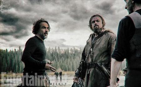 Iñárritu y Dicaprio en el rodaje de The Revenant