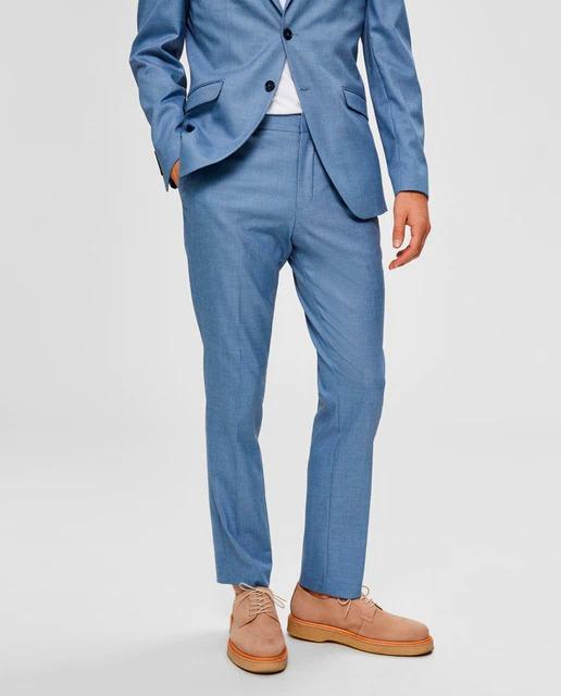 Pantalón de traje de hombre slim azul claro