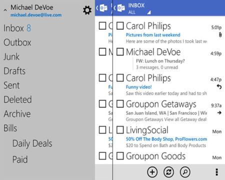 Outlook.com para Android se actualiza con nueva interfaz al estilo Windows Phone
