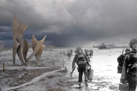 Mezclando fotografías de la Segunda Guerra Mundial con fotografías actuales