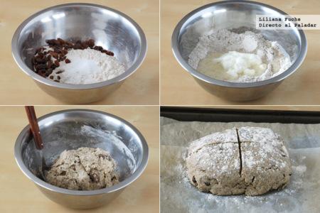 Pan de soda de centeno con yogur y pasas. Receta para San Patricio
