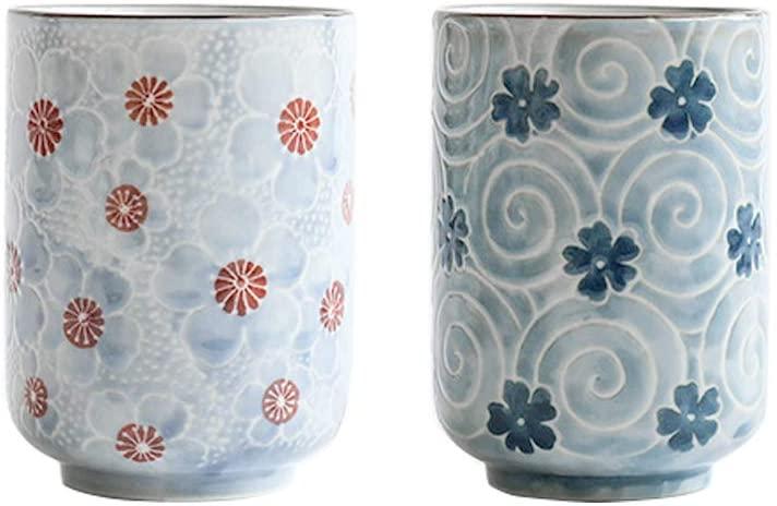 MengCat Tazas de té japonesas de cerámica