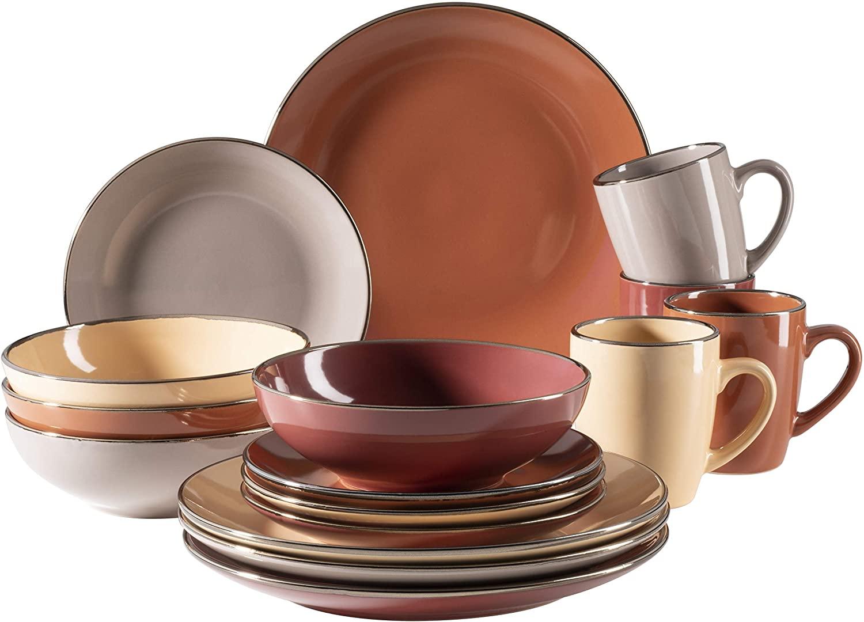 MÄSER 931871 Metallic Rim - Vajilla para 4 personas (16 piezas, con borde de color latón), multicolor