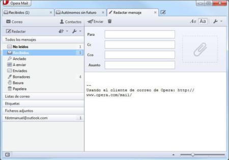 Opera Mail 1.0 para Windows, mensaje nuevo