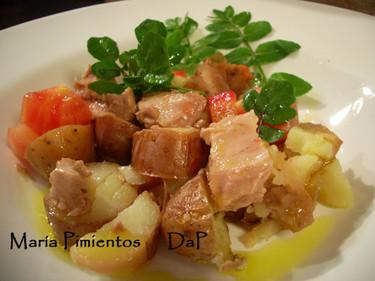 Ensalada de hígado de bacalao con patatas y berros. Receta
