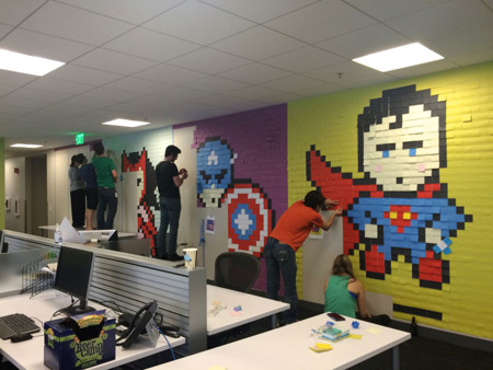 Office Wall Post It Art Superheroes Ben Brucker 11
