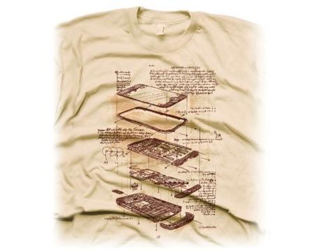Camiseta con el iPhone al más puro estilo manuscrito de Da Vinci