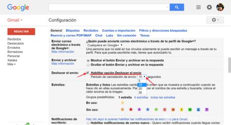 Opciones Gmail