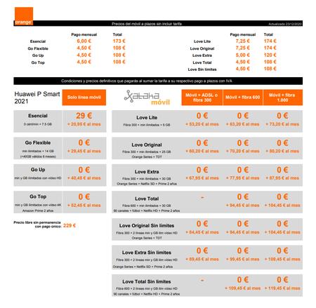 Precios Huawei P Smart 2021a Plazos Con Tarifas Orange