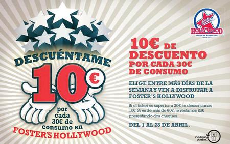 En Foster's Hollywood te descuentan 10 euros por cada 30 que consumas
