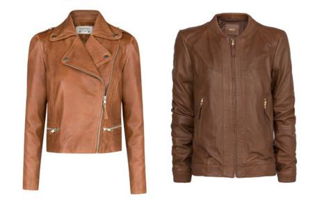 Claves de moda para ir de shopping cazadora de cuero marrón camel