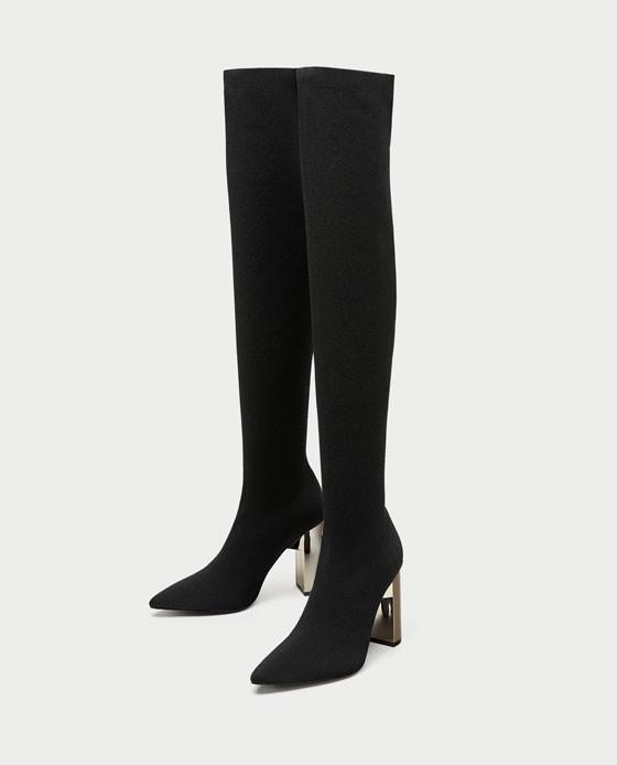 zapatos zara negros total black botas