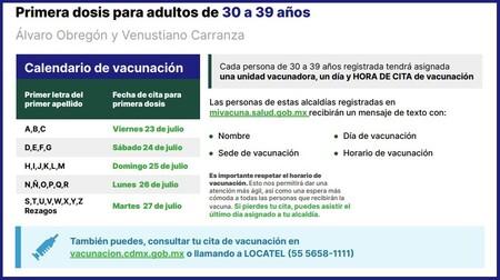 Vacunacion Covid Cdmx 30 39 Anos Sedes Fechas