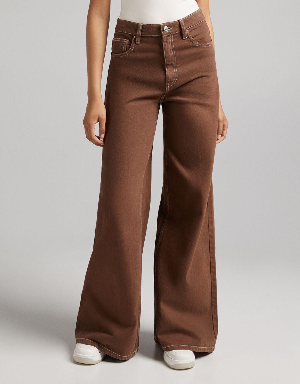 Pantalón sarga wide leg 70's contraste