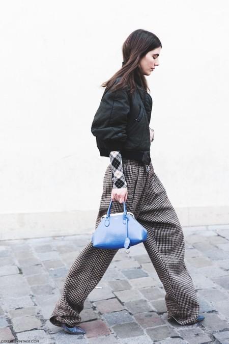 Paris Fashion Week Fall Winter 2015 Street Style Pfw Ursina Gisy Tartan Trousers Bomber 790x1185