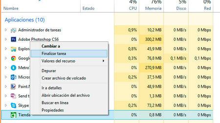 Cerrar una tarea en Windows 8