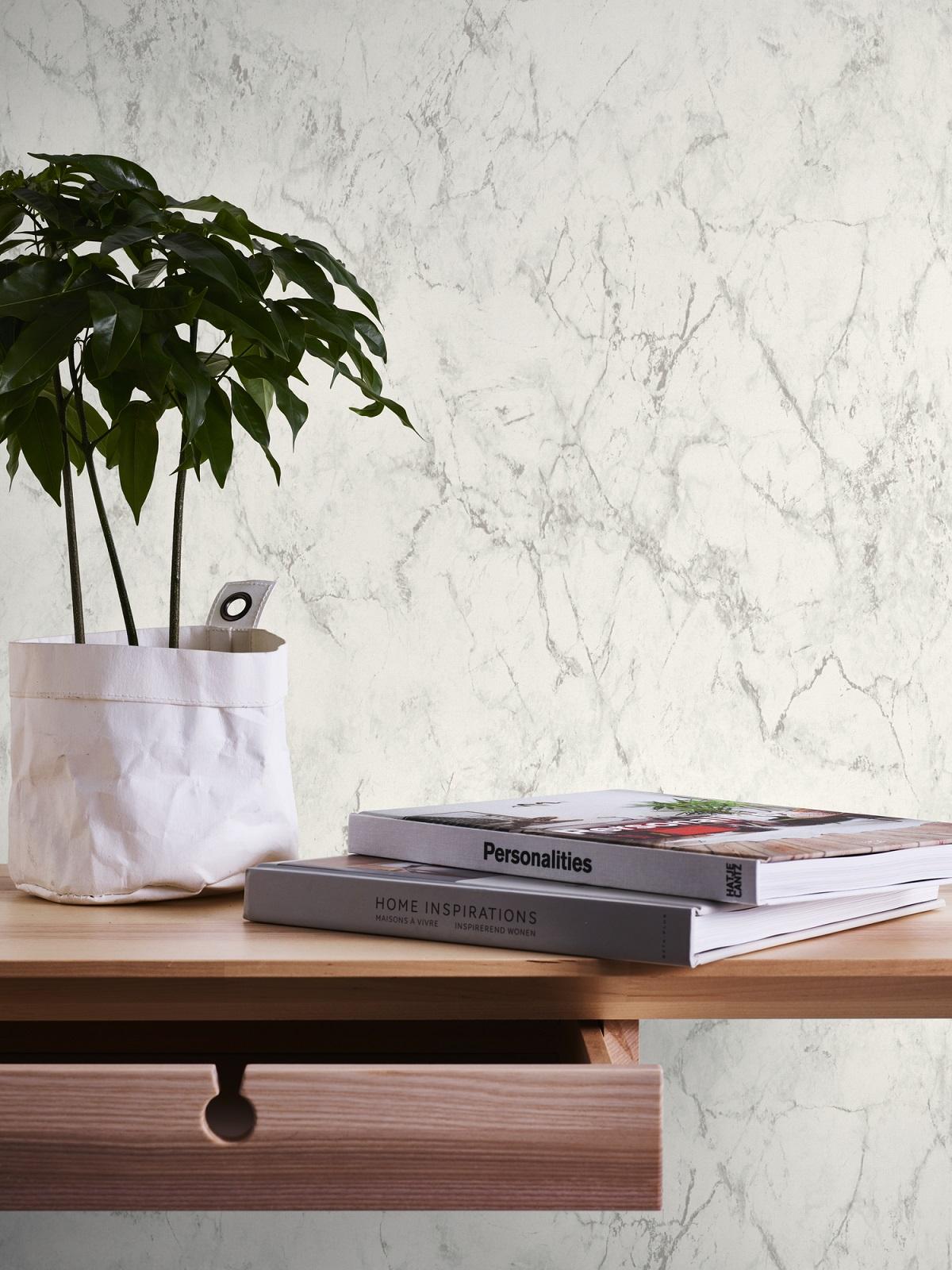 Papel pintado vinílico imitación materia Mármol gris