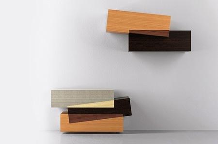 Booleanos, muebles de almacenaje que juegan con superposiciones y mezclas de color
