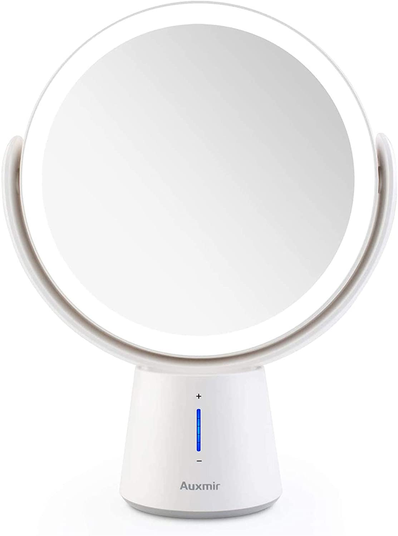 Auxmir Espejo Maquillaje con Luz LED, con Aumento de 1X / 10X y 5 Brillos Regulables, Espejo Cosmético de Doble Cara, Recargable, Giratorio de 360 ° para Hogar Baño Pared, Blanco
