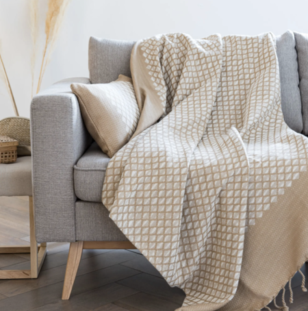 Manta de algodón beige con motivos gráficos tejidos color crudo 130x170