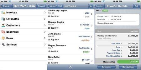 Aplicación para Zoho Facturas para el iPhone