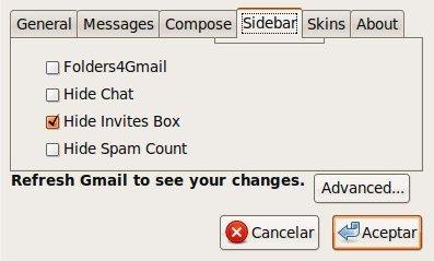 Configuración y opciones de Better Gmail 2