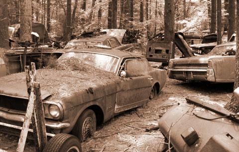 Coches antiguos abandonados para morir