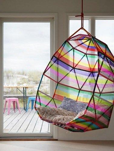 Silla colgante multicolor