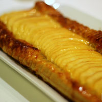 Banda de manzana y crema de pistachos, receta dulce para el postre o la merienda