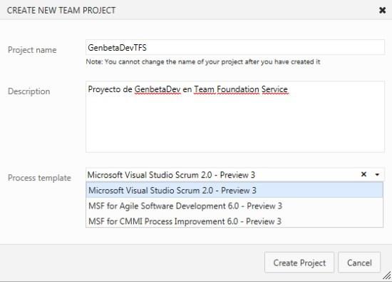 Nuevo proyecto Team Foundation Services