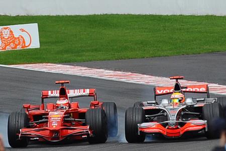 Raikkonen Hamilton Spa F1 2008