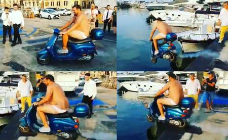 El futbolista Mario Balotelli ha sido denunciado por incitar a un camarero a tirarse al mar en moto
